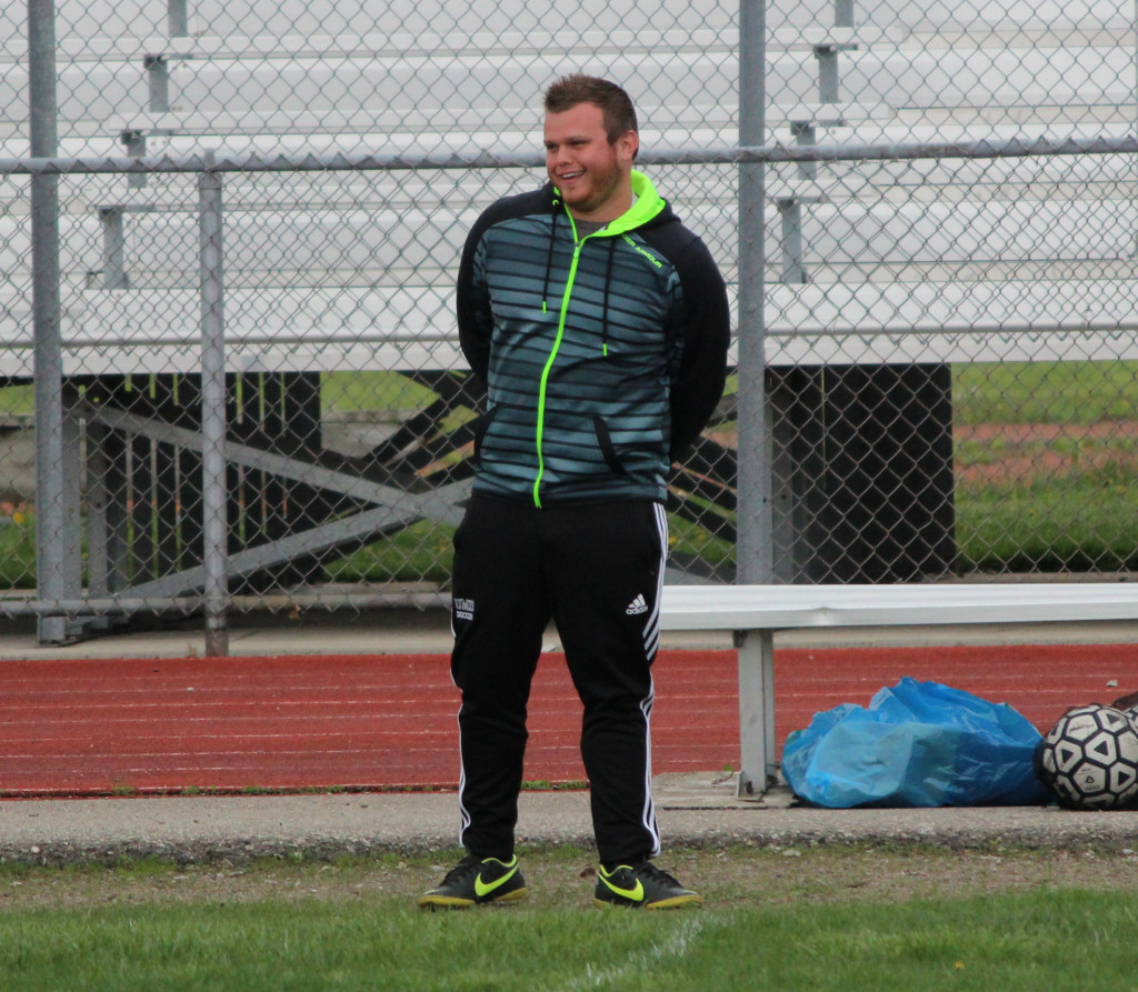 Justin Hunter, pictured while coaching Allen Park in 2014, has found a new way to love soccer through coaching. (Photo courtesy The News-Herald)