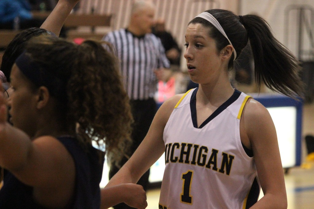 Olivia Hauser looks on during UM-Dearborn's loss to Siena Heights on Jan. 31, 2015. (Ricky Lindsay/MJ)
