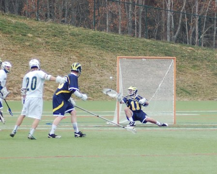 David Stephanoff makes a save during UM-Dearborn lacrosse's season opener in North Carolina. Photo courtesy of I. Cabello.