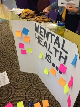 The Association of Students in Psychology had a tri-fold where students wrote what they thought mental health meant.