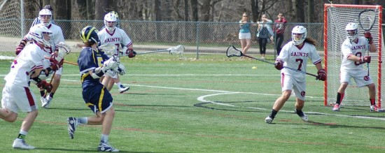 Mitch Stapleton readies to score his game-winning goal against Aquinas on April 12, 2015. Stapleton scored two goals in UM-Dearborn's 10-9 win. (Photo courtesy I. Cabello)