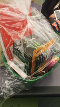 One of the prizes for the raffle winners, the study buddy basket.