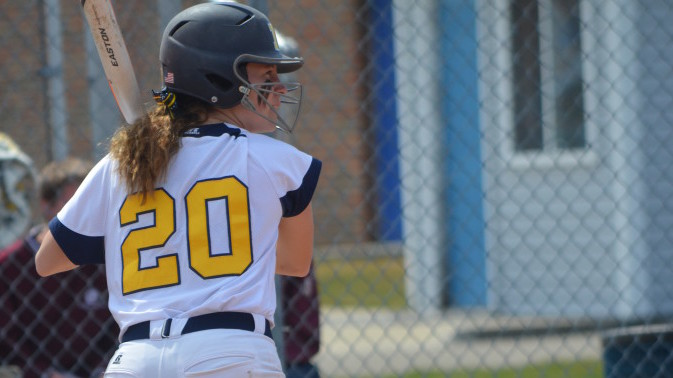 Val Bertani readies for the pitch during UM-Dearborn's doubleheader with Aquinas on April 12, 2015. (File photo/MJ)