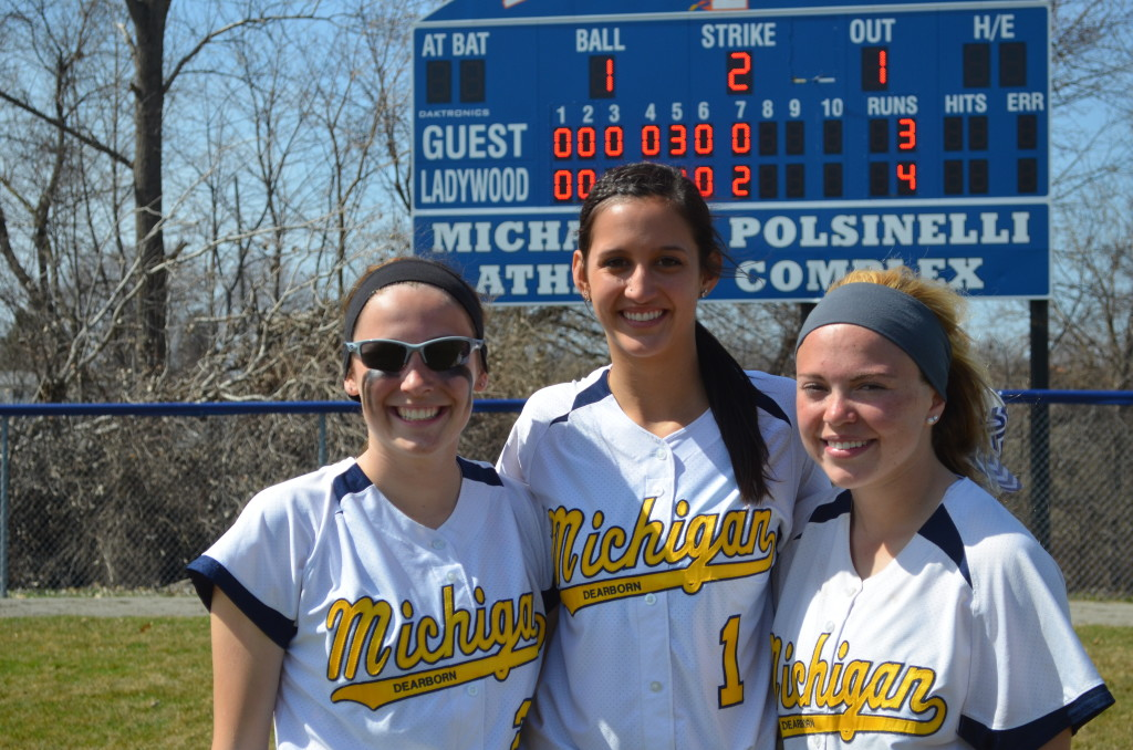Val Bertani, Maria Rodriguez and Paige Altherr, members of UM-Dearborn's softball team, all starred at Cabrini in high school. (Rebecca Gallagher/MJ)