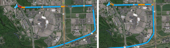 Alternate routes from UM-Dearborn to Michigan Avenue are displayed in blue. (Photo courtesy UM-Dearborn)