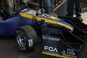 UM-Dearborn's Formula SAE racecar was revealed to students, staff, and supporters on Saturday, April 18. (Amber Ainsworth/MJ)