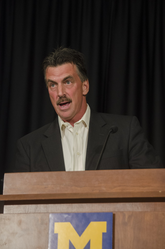 Scott Combs speaks at UM-Dearborn's all-sports banquet on May 8. He was honored at the banquet as UM-Dearborn's Coach of the Year after leading the softball team to the WHAC championship game. (Rebecca Gallagher/MJ)