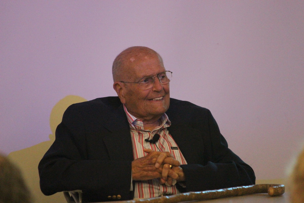 Former US Congressman John Dingell flashes a grin while speaking at Student Government's Constitution Day on Sept. 22. (Ricky Lindsay/MJ)