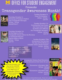 The official poster for the OSE's Transgender Awareness Month.