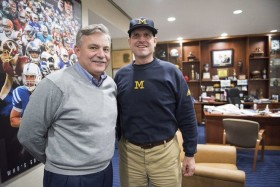 Don Brown (left) was announced as Michigan's new defensive coordinator by Jim Harbaugh (right) on Dec. 21. (Photo courtesy Harbaugh's Twitter)