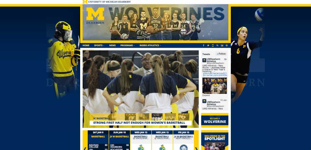 UM-Dearborn Athletics unveiled a new website last month. Photo courtesy of UM-Dearborn Athletics