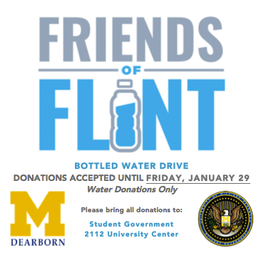 Student Government and UM-Dearborn held a water drive last week to help those affected by the Flint water crisis. (Photo courtesy of Student Government)