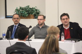 From left to right: Michigan Representative George Darany, Michigan Senator David Knezek and Michigan Senator Patrick Colbeck spoke at Student Government's roundtable discussion on higher education on Jan. 25. (Ricky Lindsay/MJ)