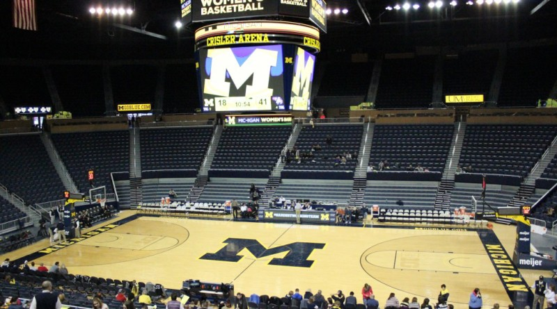 Crisler Center, pictured during halftime of UM-Dearborn women's basketball's game against Albion College, will host UM-Dearborn's winter 2016 commencement ceremony on May 1 at 2:30 p.m. (Ricky Lindsay/MJ)