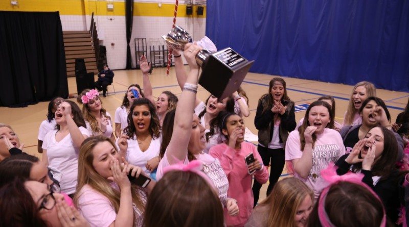 The women of Phi Mu celebrate after winning Greek Week on Friday, April 1 in the UM-Dearborn Fieldhouse. Phi Mu also won Mock Rock, which was the final event in Greek Week. (Demetrio Nasol/MJ)