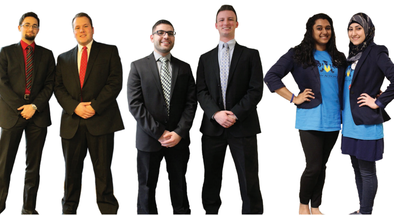 From left to right: Mazen Hammoud and Montana McCray (Students Serving Students), Nasri Sobh and Kevin Landwehr (Voices for Victors) and Fiana (Syeda) Arbab and Malak Nasser (Michigan Action Party). They will compete against each other in this week's Student Government election at UM-Dearborn.